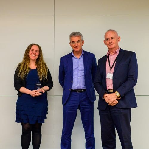 Emerging Risk Professional of the Year - Gemma de Vilder (Fonterra) receiving her award from Award judges Nigel Toms and Grant Avery