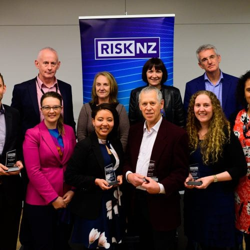 Winners and judges of RiskNZ's Awards of Excellence 2019